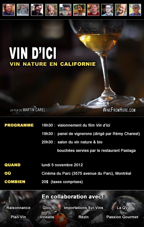Soirée vin nature le 5 novembre 2012!